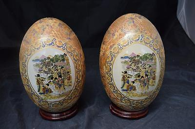 2 Large Decorative Japanese Eggs on Stands