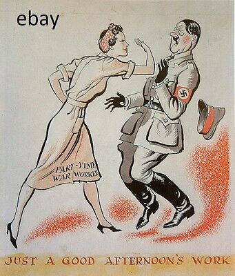 Ww2 Propaganda Poster British Woman War Worker Slaps Hitler New A4 Print