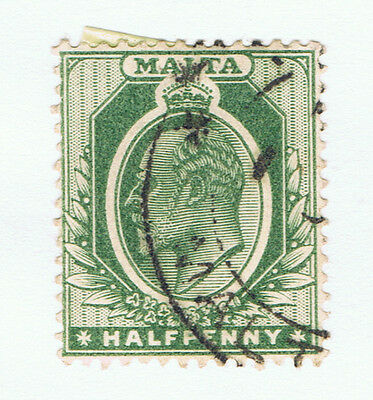 Malta #21(2) 1903 1/2 pence dark green King Edward VII Used