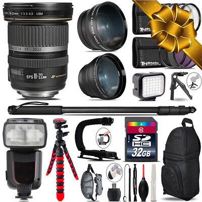 Canon EF-S 10-22mm USM + Pro Flash + LED Light + Tripod - 32GB Accessory Bundle