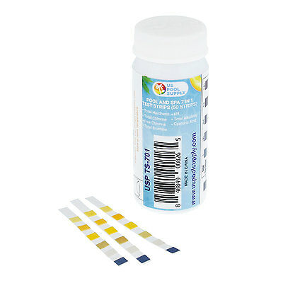 50 ct 7-Way Swimming Pool Spa Water Test Kit Strips, Measure Chlorine, pH Levels