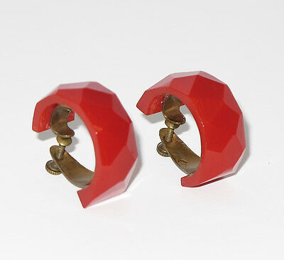 Vintage Bakelite screw back Earrings rare red carved faceted hoop design