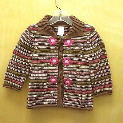 GYMBOREE Girls Brown Pink Flower Stripe Toggle Cardigan Sweater - 18/24m