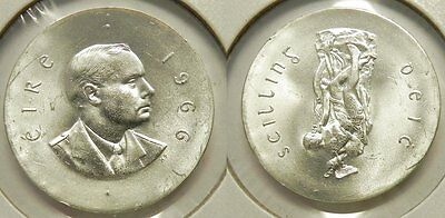 X130  1966 Ireland Silver 10 Shillings Uncirculated Easter Uprising Coin