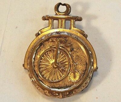 Old Antique BIG WHEEL BIKE POCKET WATCH FOB Bicycle VICTORIAN JEWELRY FOR CHAIN