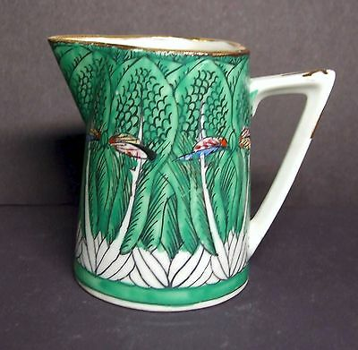 Small Hand Decorated Chinese Cream Pitcher - Green Leaf Design