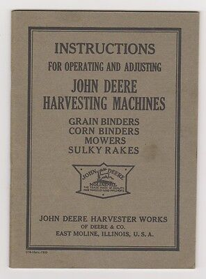 1920 John Deere Instruction Book for Harvesting Machines #C18