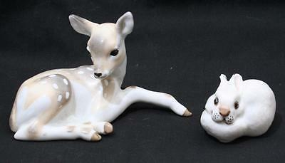 Beautiful Vintage Lomonosov Russian USSR Animal Figure x 2 - Deer Fawn + Rabbit