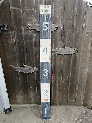 64 Inch Wood Hand Painted Tide Or Flood Measure Sign Nautical Seafood (#s674)