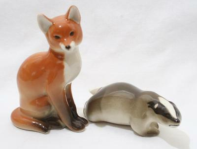 Beautiful Vintage Lomonosov Russian USSR Animal Figure x 2 - Fox & Badger