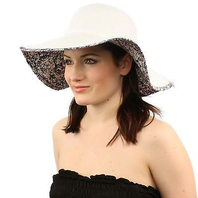 "UPF Summer Floral Under Visor Wide Brim 4-1/8"" Floppy Beach Sun Hat White Blue"