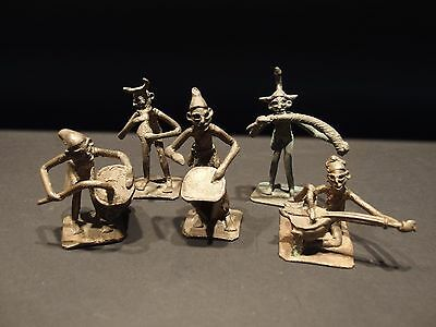 5 Antique Ashanti African Ghana Gold Weight Akan Musician Bronze Statue Figure