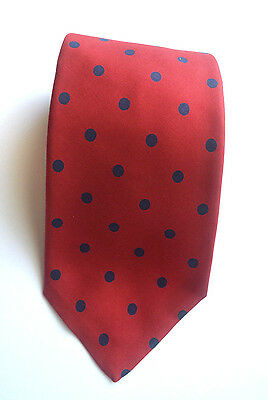 Vintage Brooks Brothers Red With Blue Polka Dots 100% Silk Tie
