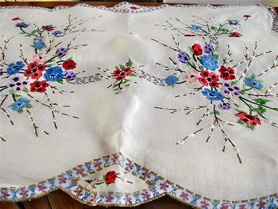 Striking Hand Embroidered Vintage Tablecloth, Catkins, Anenomes, Poppies, Shaped