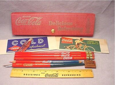 1930's Coke Coca Cola Complete Pencil Case w/ Accessories