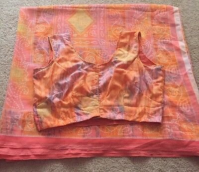 Vintage Sari Indian Saree With Summer Blouse Bollywood Ethnic NEW Casual Party