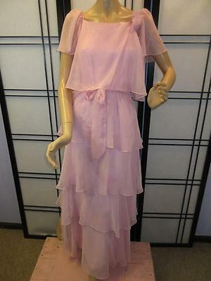 Vtg 70s PINK CHIFFON SHEER TIERED Off Shoulder Edwardian Flowy Maxi Party Dress