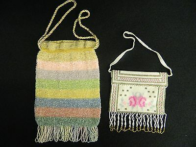 Lot Of 2 Vintage Crochet Striped Beaded Drawstring Purse & Floral Beaded Purse