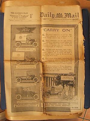 Original WWI Sept 10 1914 NEWSPAPER The Daily Mail CANADIAN ARMY photos FORD ads