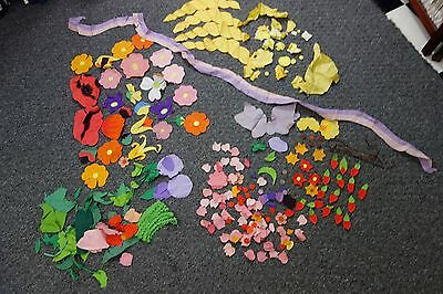 1930's Appliqued Flower Pieces for Quilt-130 pc-Pink,Lavender,Yellow,Red- SALE