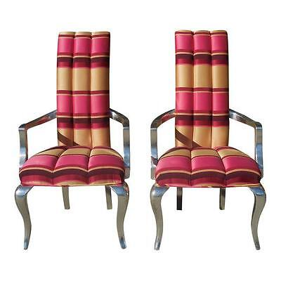 Pink Modern Silver-Leaf Scalamandre Striped Chairs - A Pair
