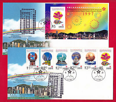 """1997 First Day Covers Fdc Ms Stamps """"hong Kong Return To China 20Th Anniv."""" Cto"""