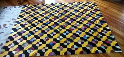 Antique Victorian Quilt Top Handmade Paper from Books Embroidery Velvet Silk +++
