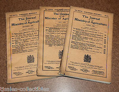 1920 Journal Ministry of Agriculture THREE ISSUES Advertising Science Booklets