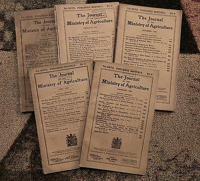 FIVE Issues 1920-1921 Journal of the Ministry of Agriculture United Kingdom