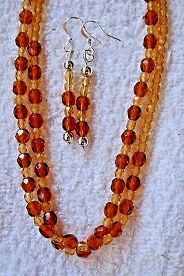 jewelry set brown glass crystal long necklace earrings silver tone