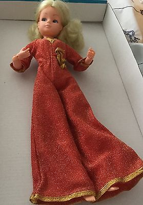 Exclusively for Debenhams vintage Sindy action girl doll in gold thread jumpsuit