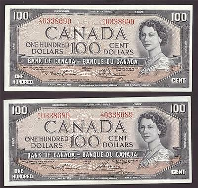 2x 1954 Bank of Canada $100 consecutive notes Lawson C/J0338689-90 AU58+