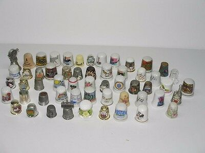56 Us Vacation Souvenir Porcelain Wood Pewter Sewing Thimbles - Collection