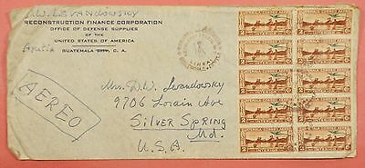 1947 Guatemala Airmail Block Of 10 On Cover To Usa