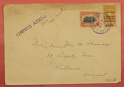 1949 Costa Rica Turrialba Cancel Airmail Cover To Usa