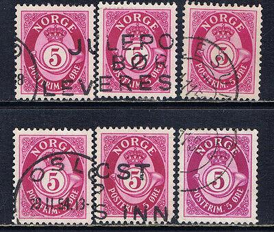 Norway #190(1) 1941 5 ore rose lilac POSTHORN 6 Used