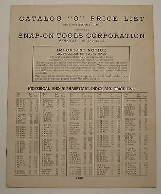 Antique Vintage 1945 Snap On Tools September 1945 Catalog Q Dealer Price List