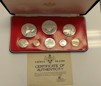1975 Cayman Islands 8 Proof Coin Set 4 Silver Box C.O.A