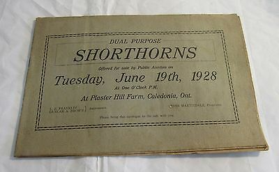 1928 Caledonia Ontario Shorthorn Cattle Auction Program Vintage Canada Farming
