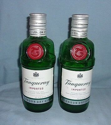 2 Tanqueray Imported Gin Bottles Empty 375ml