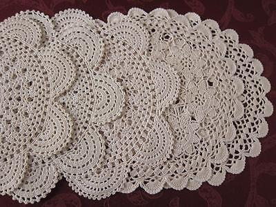 Lot of 5 Vintage Ecru Crochet Doilies for Craft or Use