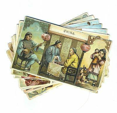 Lot 7 Arbuckle Ariosa Coffee Trade Cards GA MA China Italy Egypt Spain cv4329