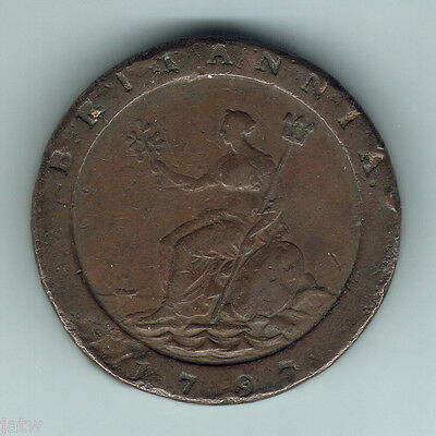 "Great Britain.  1797 George 111  ""Cartwheel""  Twopence.  F/F+"