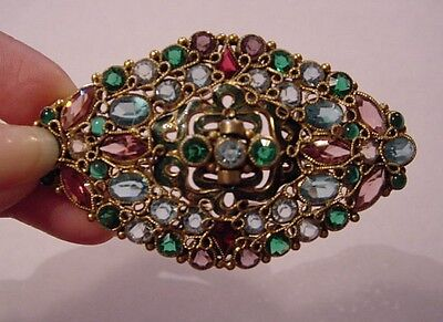 Vintage FASHIONCRAFT ROBERT Gold Tone Open Back Crystal Brooch Pin WoW
