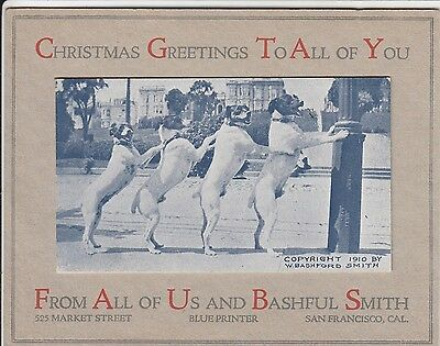 W. Bashford Smith Xmas Greeting advert card w 4 dogs San Francisco CA 1910