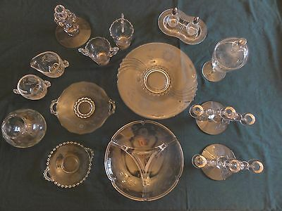 Gorgeous 19 Piece Set of Vintage J.W. HUGHES CORNFLOWER Candlewick Pie Crust etc