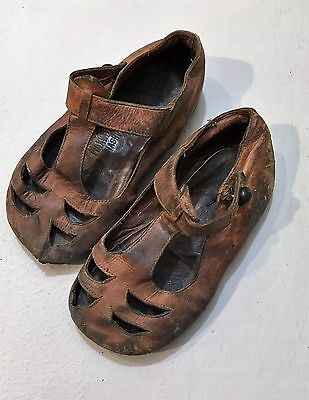 Vtg Antique Primitive Child's Leather Shoes Maxwell House Nashville Tennessee
