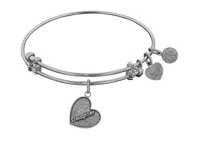 Angelica Antique White Stipple Finish Brass daughter Heart Expandable Bangle...