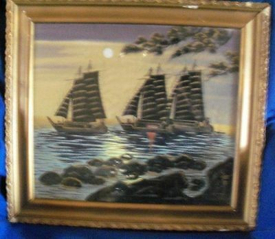 Antique Chinese Painting on Silk ~ Sailboats on Moonlit Water SIGNED, FRAMED