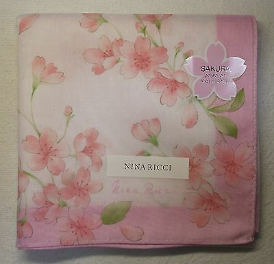 "NINA RICCI cherry blossoms cotton 100% handkerchief 56x56cm(22.40"")made in Japan"